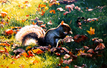 Autumn Leaves – Squirrel by Dino Paravano