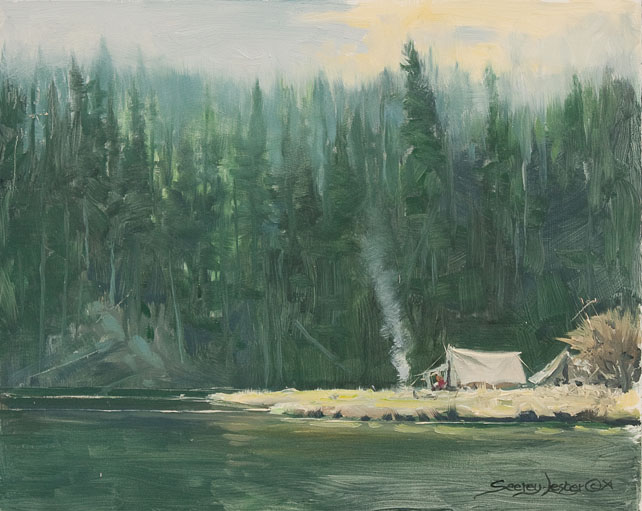 Historic Hunts, North America – Camp at Cattleman's Bridge Site plein air by John Seerey-Lester