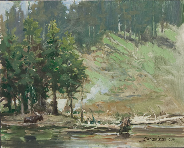 Historic Hunts, North America – Moose Near Camp – plein air by John Seerey-Lester