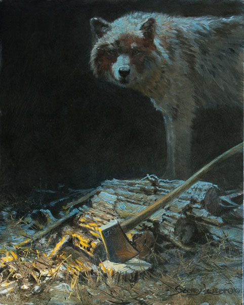 Historic Hunts, North America – Wolf at the Wood Pile by John Seerey-Lester