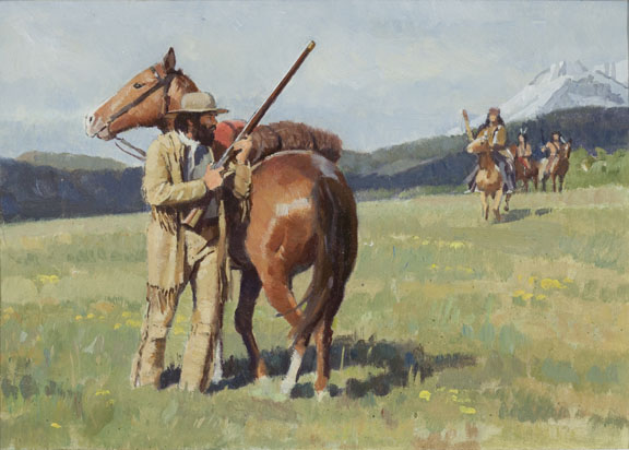 Horse, Rifleman and Indians by Don Spaulding