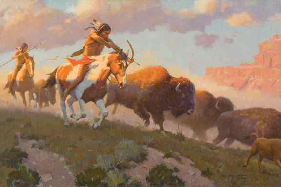 Indian Hunting Buffalo by Don Spaulding