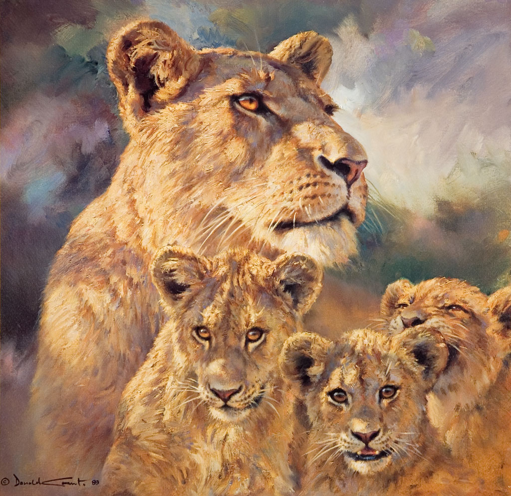Lioness and Cubs by Donald Grant