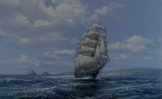 Clipper Ship, Cutty Sark Off the Skelligs #1475 by Peter Ellenshaw