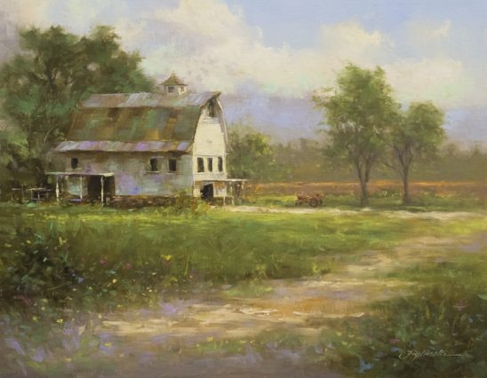 White Barn On A Summers Day by Martin Figlinski