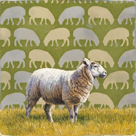 White on Green – Sheep by Andrew Denman