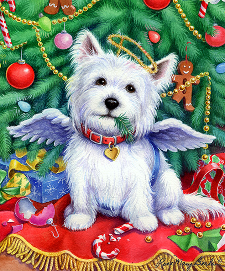 Christmas – Christmas Westie by Rose Mary Berlin