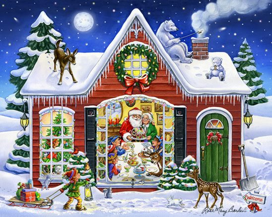 Christmas – Santa House by Rose Mary Berlin