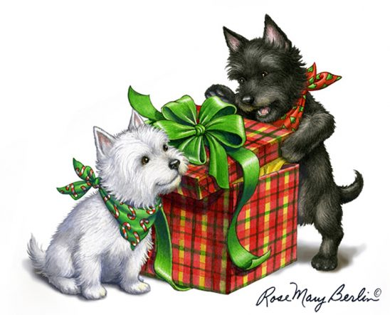 Christmas – Westie and Scottie by Rose Mary Berlin
