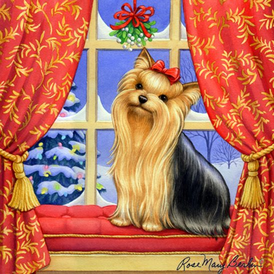 Christmas – Yorkie – Christmas Mistletoe by Rose Mary Berlin