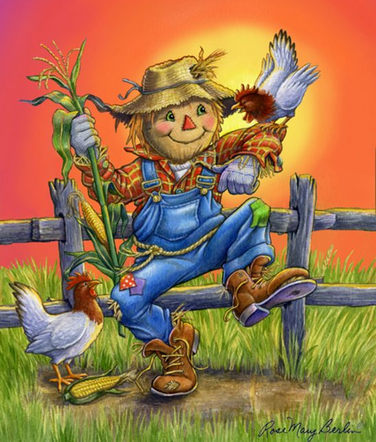 Garden – Scarecrow with Chicken by Rose Mary Berlin