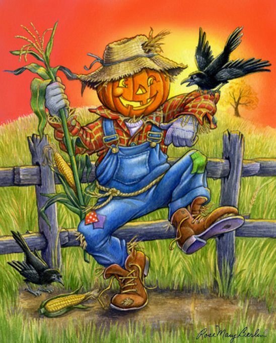 Halloween – Scarecrow – Pumpkin by Rose Mary Berlin