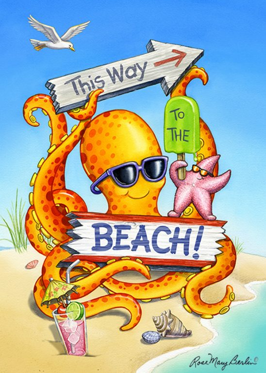 Kids Illustration – Beach Octopus by Rose Mary Berlin