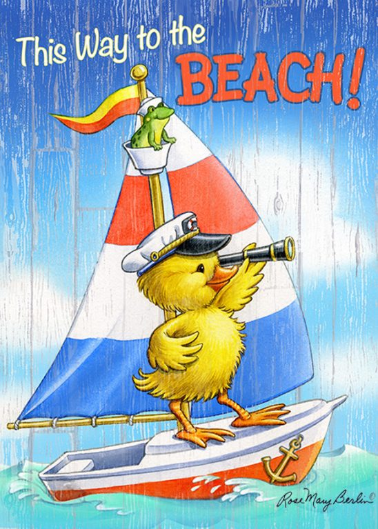 Kids Illustration – Duck Sailor – This Way to the Beach by Rose Mary Berlin