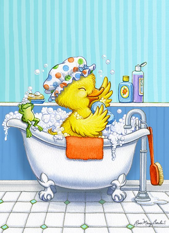 Kids Illustration – Duck in the Tub by Rose Mary Berlin