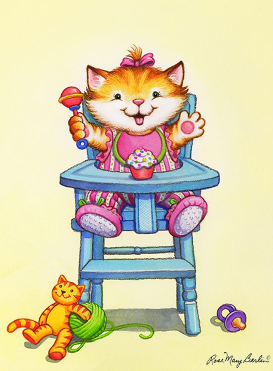 Kids Illustration – Kitten in High Chair by Rose Mary Berlin