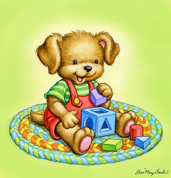 Kids Illustration – Lab Puppy with Blocks by Rose Mary Berlin