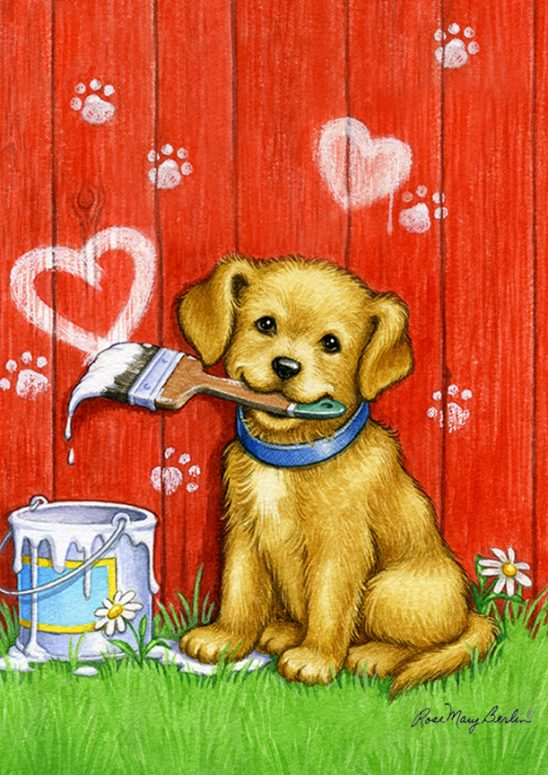 Kids Illustration – Painter Puppy Hearts by Rose Mary Berlin