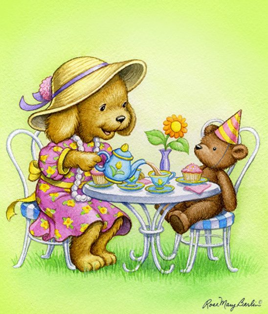 Kids Illustration – Tea Party Pup by Rose Mary Berlin