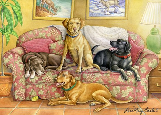 Slice of Life – Four Labs on the Couch by Rose Mary Berlin