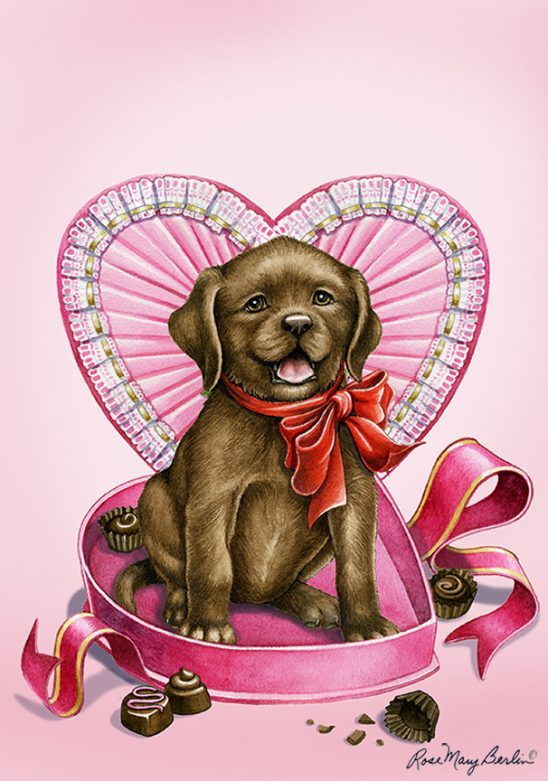 Valentine's – Chocolate Lab by Rose Mary Berlin