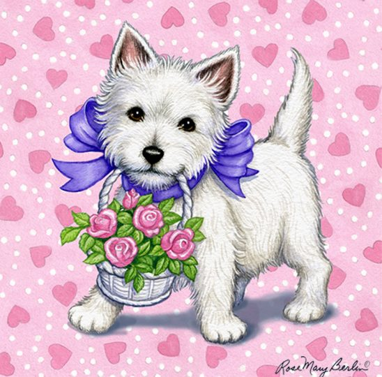 Valentine's – Westie Flowers by Rose Mary Berlin
