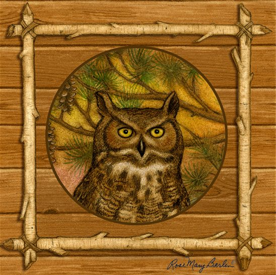 Wildlife – Owl Circle in a Square by Rose Mary Berlin