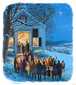 Christmas – Crawford – Christmas Carolling Outside Church GXB05968 © Wind River Studios