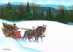 Christmas – McNeely – Bringing Home Tree on Sleigh 3 GXB10206 © Wind River Studios