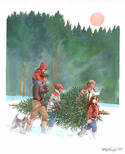 Christmas – McNeely – Family Cutting Christmas Tree GXB09697 © Wind River Studios