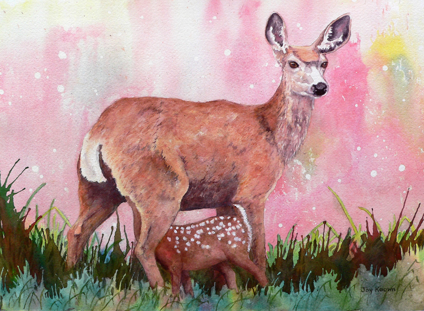 Mule Deer and Fawn by Joy Keown