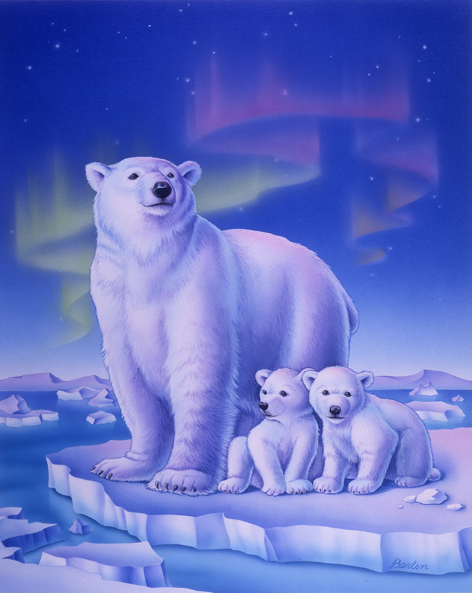 Wildlife – Polar Bear Family by Rose Mary Berlin