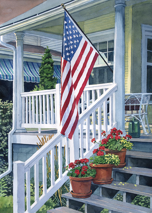 Porch with Flag – Macatawa by Stan Myers