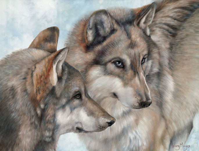 Wildlife – Wolf Pair Portrait by Hilary Mayes