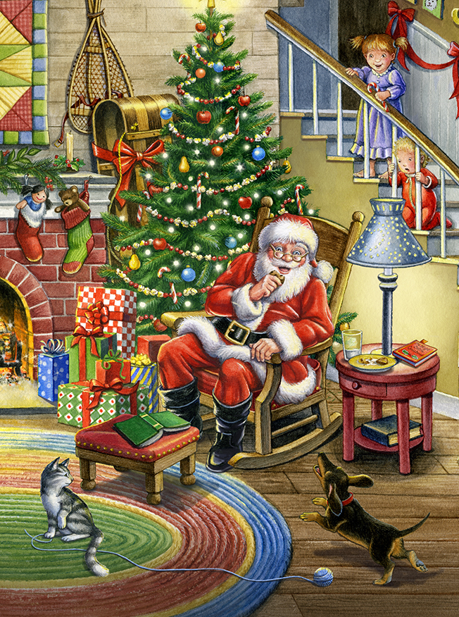 Christmas Magic with Santa – Vertical by Rose Mary Berlin