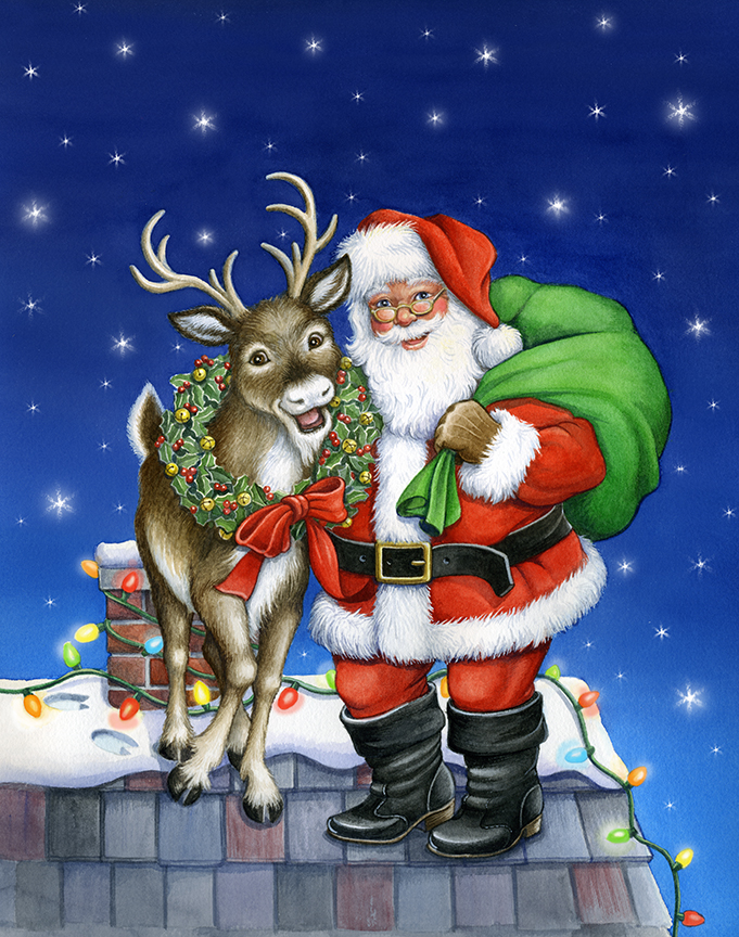 Deer and Santa by Rose Mary Berlin