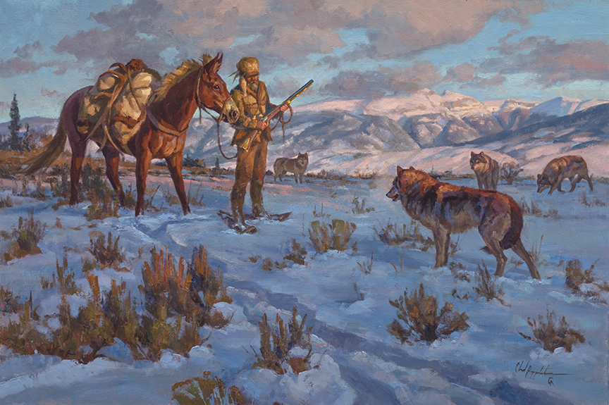 Mountain Man and Wolves by Chad Poppleton
