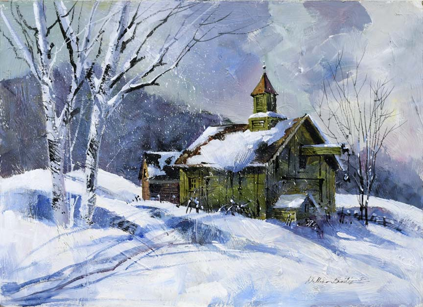 Old Winter Schoolhouse 7151 by William Biddle