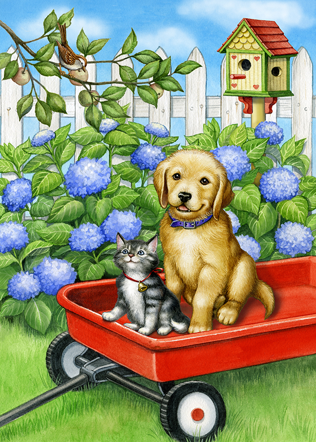 Puppy, Kitten and Birdie by Rose Mary Berlin