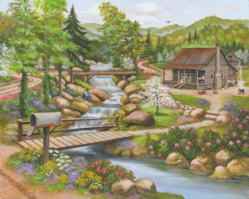 Cabin – Spring Season by Peggy Myrick Knight