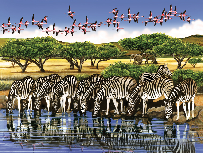 Zebras and Flamingoes © Cobble Hill Puzzle Company